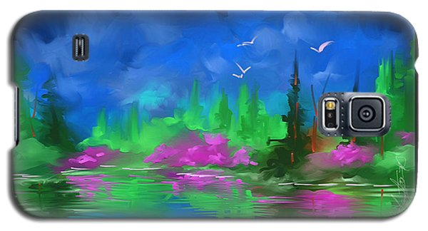 Galaxy S5 Case featuring the painting Blue Horizon by Steven Lebron Langston