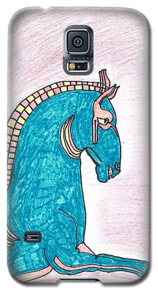 Galaxy S5 Case featuring the drawing Blue Horse Of Shanghai by Don Koester