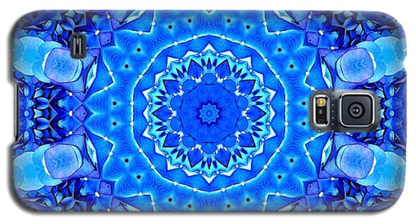 Galaxy S5 Case featuring the photograph Blue Hydrangeas Flower Kaleidoscope by Rose Santuci-Sofranko