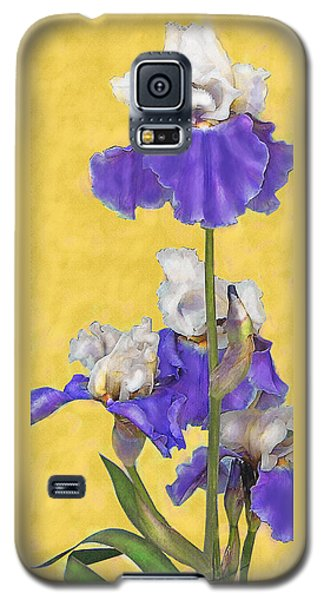 Blue Iris On Gold Galaxy S5 Case by Jane Schnetlage
