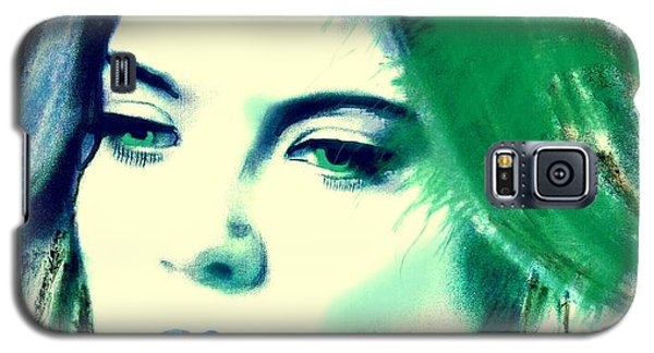 Blue Lips On Green Galaxy S5 Case by Kim Prowse