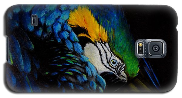 Galaxy S5 Case featuring the painting Blue Macaw by Nancy Bradley