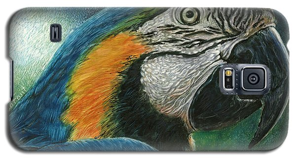 Galaxy S5 Case featuring the drawing Blue Macaw by Sandra LaFaut