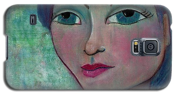 Galaxy S5 Case featuring the mixed media Blue Mermaid Girl by Lisa Noneman