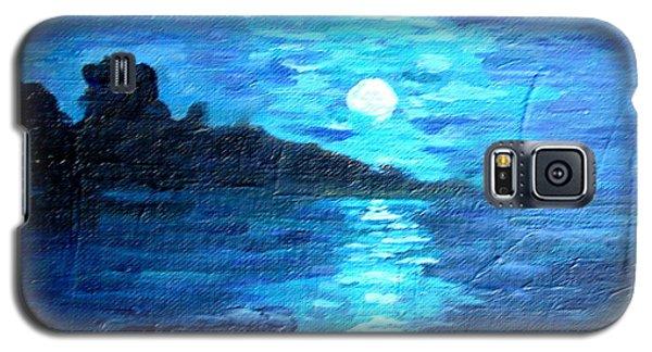 blue moon over lake couer da  lane Idaho Galaxy S5 Case by Joseph Hawkins