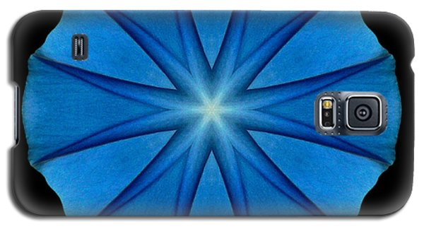Blue Morning Glory Flower Mandala Galaxy S5 Case by David J Bookbinder