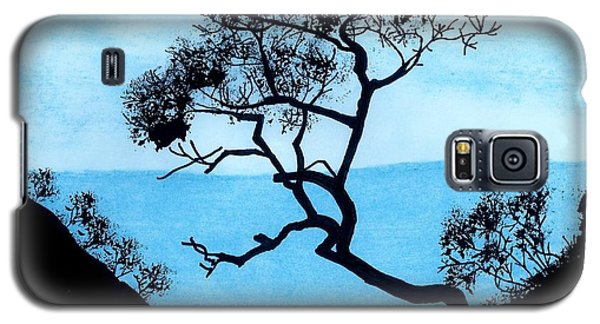 Galaxy S5 Case featuring the drawing Blue Mountain by D Hackett