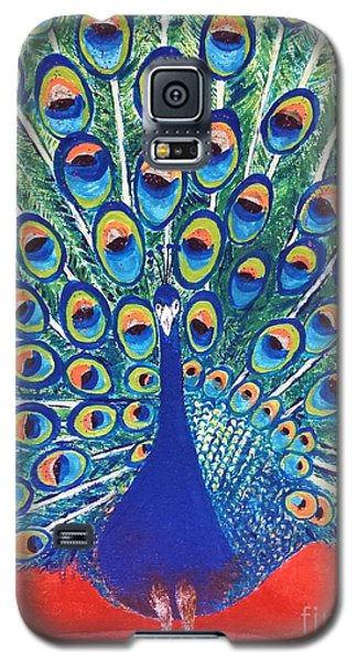 Galaxy S5 Case featuring the painting Blue Peacock by Jasna Gopic