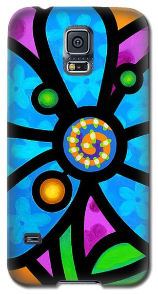 Blue Pinwheel Daisy Galaxy S5 Case
