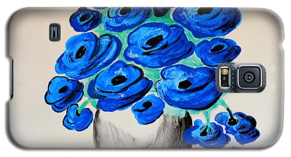 Galaxy S5 Case featuring the painting Blue Poppies by Ramona Matei