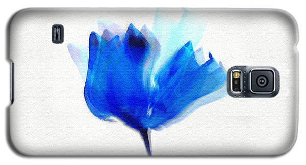Blue Poppy Silouette Mixed Media  Galaxy S5 Case