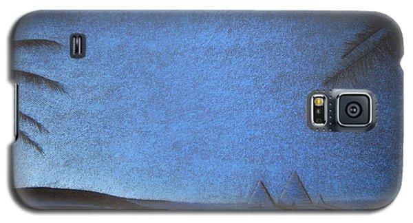 Galaxy S5 Case featuring the drawing Blue Pyramid by Mayhem Mediums