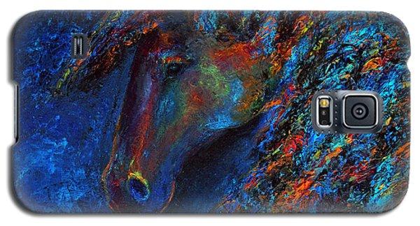 Galaxy S5 Case featuring the painting Blue Rain by Jennifer Godshalk