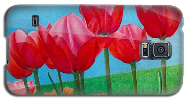 Blue Ray Tulips Galaxy S5 Case by Pamela Clements