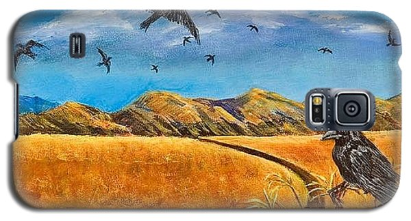 Galaxy S5 Case featuring the painting Blue Ribbon Crows by Susan Culver