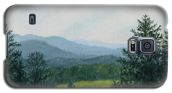 Galaxy S5 Case featuring the painting Blue Ridge Mountain Meadow - After The Rain by Kathleen McDermott