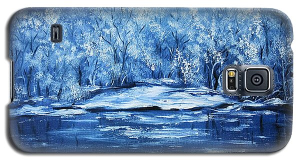 Galaxy S5 Case featuring the painting Blue Silence by Vesna Martinjak
