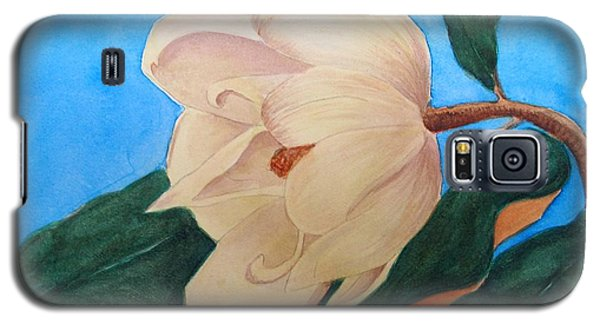 Galaxy S5 Case featuring the painting Blue Sky Magnolia by Nancy Kane Chapman