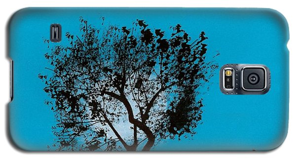 Galaxy S5 Case featuring the drawing Blue Sky Moon by D Hackett