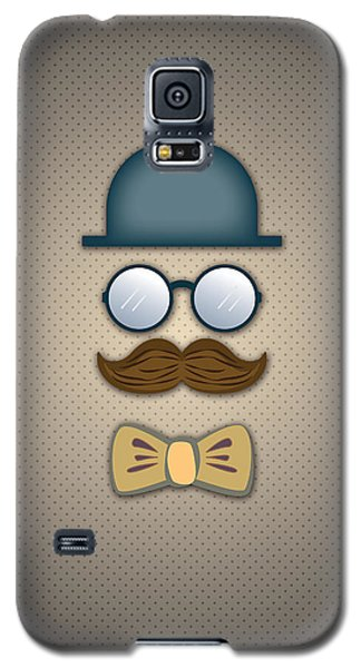 Blue Top Hat Moustache Glasses And Bow Tie Galaxy S5 Case by Ym Chin