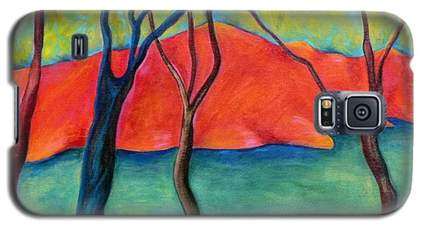 Galaxy S5 Case featuring the painting Blue Tree 2 by Elizabeth Fontaine-Barr