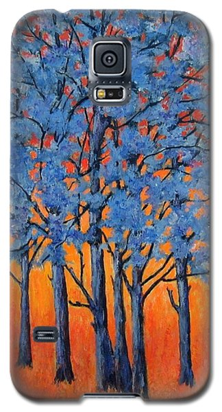 Galaxy S5 Case featuring the painting Blue Trees On A Hot Day by Suzanne Theis