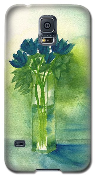 Blue Tulips In Glass Vase Galaxy S5 Case by Frank Bright