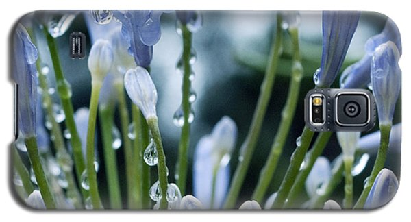 Galaxy S5 Case featuring the photograph Blue Water Drops -3  by Haleh Mahbod