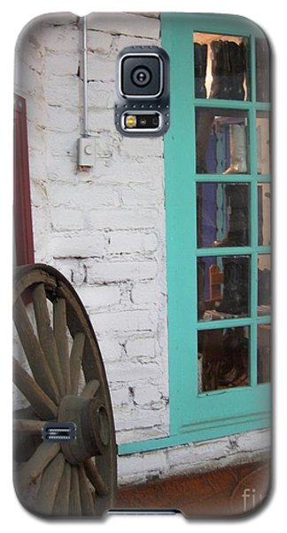 Galaxy S5 Case featuring the photograph Blue Window And Wagon Wheel by Dora Sofia Caputo Photographic Art and Design
