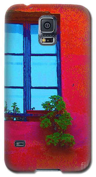 Galaxy S5 Case featuring the photograph Blue Window With Flowers by Ann Johndro-Collins