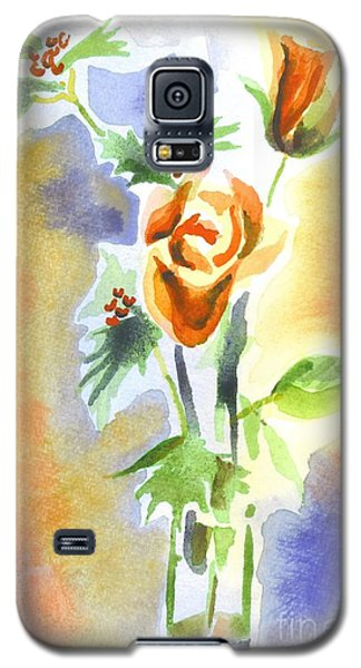 Galaxy S5 Case featuring the painting Blue With Redy Roses And Holly by Kip DeVore