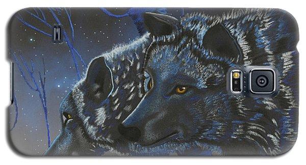 Blue Wolves With Stars Galaxy S5 Case by Mayhem Mediums