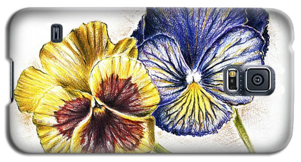Blue Yellow Pansies Galaxy S5 Case by Katharina Filus