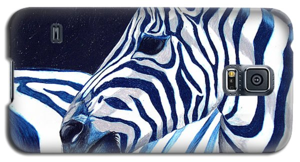 Galaxy S5 Case featuring the painting Blue Zebra by Alison Caltrider