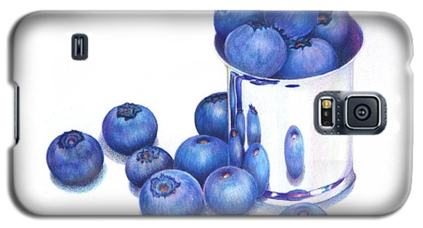 Blueberries And Silver Galaxy S5 Case by Mariarosa Rockefeller