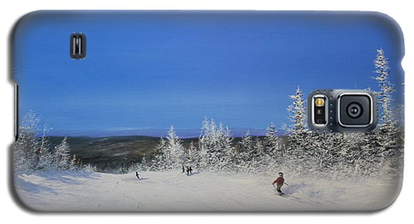 Galaxy S5 Case featuring the painting Bluebird Ski Day by Ken Ahlering
