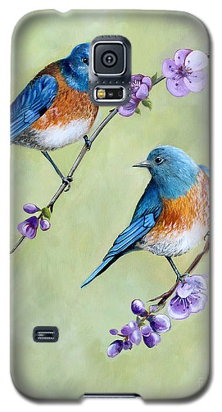Bluebirds And Blossoms Galaxy S5 Case