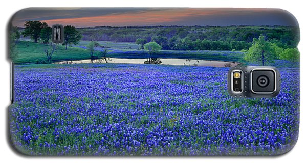 Galaxy S5 Case featuring the photograph Bluebonnet Lake Vista Texas Sunset - Wildflowers Landscape Flowers Pond by Jon Holiday