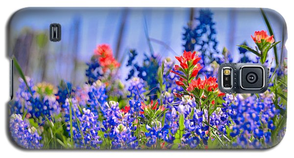 Galaxy S5 Case featuring the photograph Bluebonnet Paintbrush Texas  - Wildflowers Landscape Flowers Fence  by Jon Holiday
