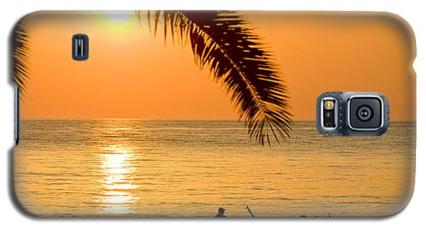 Boat At Sea Sunset Golden Color With Palm Galaxy S5 Case