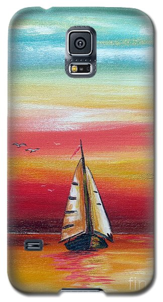 Galaxy S5 Case featuring the painting Boat At Sunset On The Indian Ocean by Roberto Gagliardi