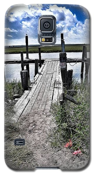 Galaxy S5 Case featuring the photograph Boat Dock With Gulls by Patricia Greer