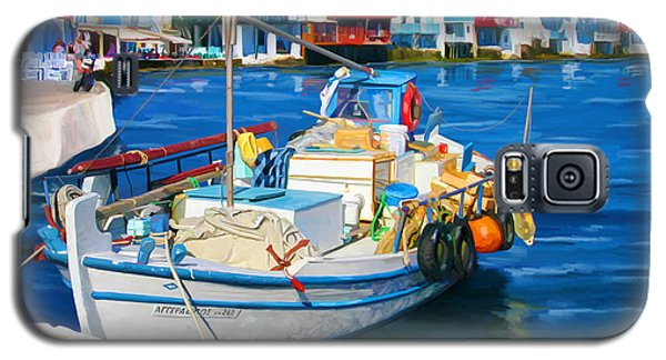 Galaxy S5 Case featuring the painting Boat In Greece by Tim Gilliland