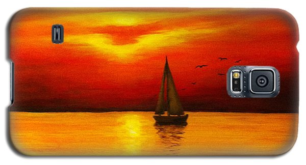 Galaxy S5 Case featuring the painting Boat In The Sunset by Bozena Zajaczkowska