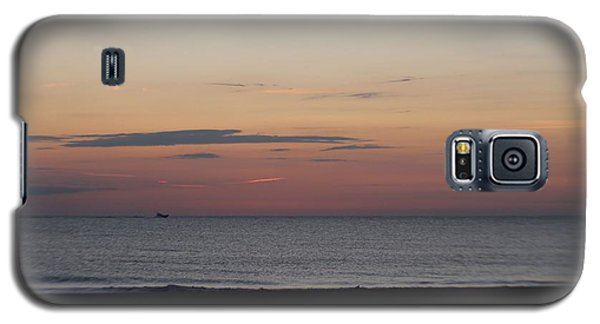 Galaxy S5 Case featuring the photograph Boat On The Horizon At Sunrise by Robert Banach