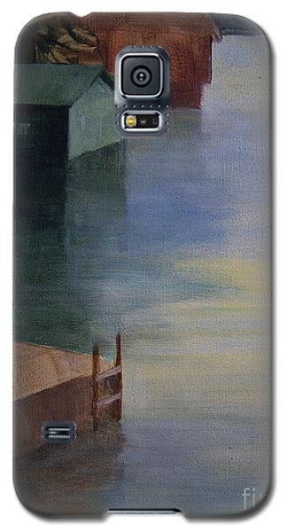 Galaxy S5 Case featuring the painting Boathouses by Mary Lynne Powers