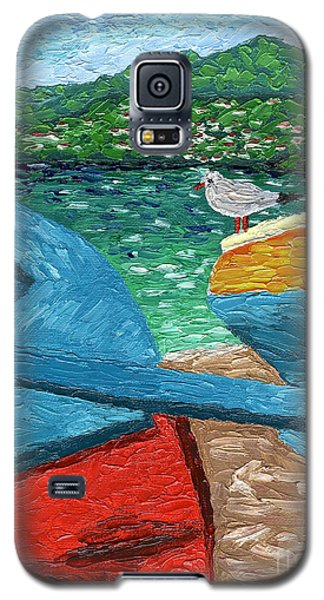 Galaxy S5 Case featuring the painting Boats And Bird At Rest by Laura Forde