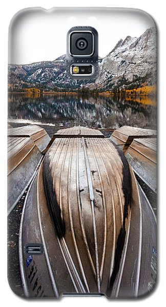 Boats At Mountain Lake In Autumn Fine Art Photograph Print Galaxy S5 Case