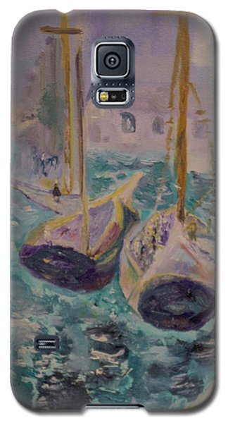 Galaxy S5 Case featuring the painting Boats At Sea by Aleezah Selinger