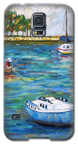 Galaxy S5 Case featuring the painting Boats At St Petersburg by Michael Daniels
